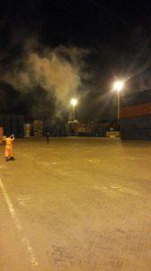 صورة من بداية العجوم بقنابل الغاز
