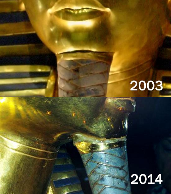 صورة مقارنة لقناع الملك قبل وبعد التلفيات