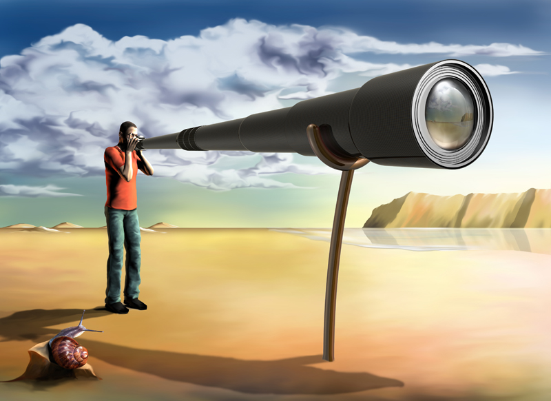 Surreal illustration of a photographer using an unfeasibly long lens