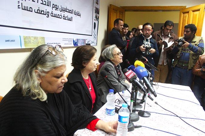 أعضاء مركز النديم أثناء مؤتمر التضامن مع المركز – نقابة الصحفيين